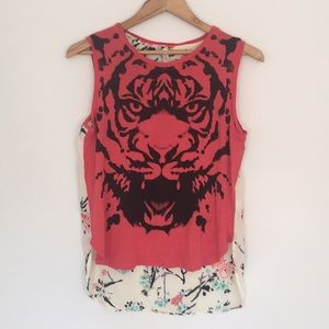 Red tiger tank with sheer floral back.